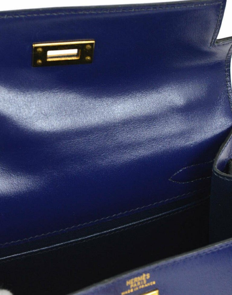 Hermes Kelly Blue Leather Gold Small Evening Shoulder Flap Bag in Box For Sale 1
