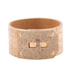 Hermes Kelly Brown Diamond Pave Alligator Leather Pattern Cuff Bracelet