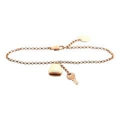 Hermes Kelly Clochette Chain Bracelet 18K Rose Gold Small