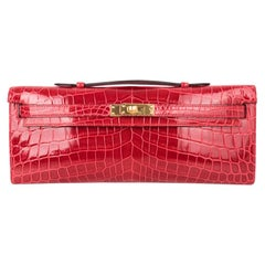 Hermes Kelly Cut Bag Braise Crocodile Gold Hardware Exquisite Lipstick Red