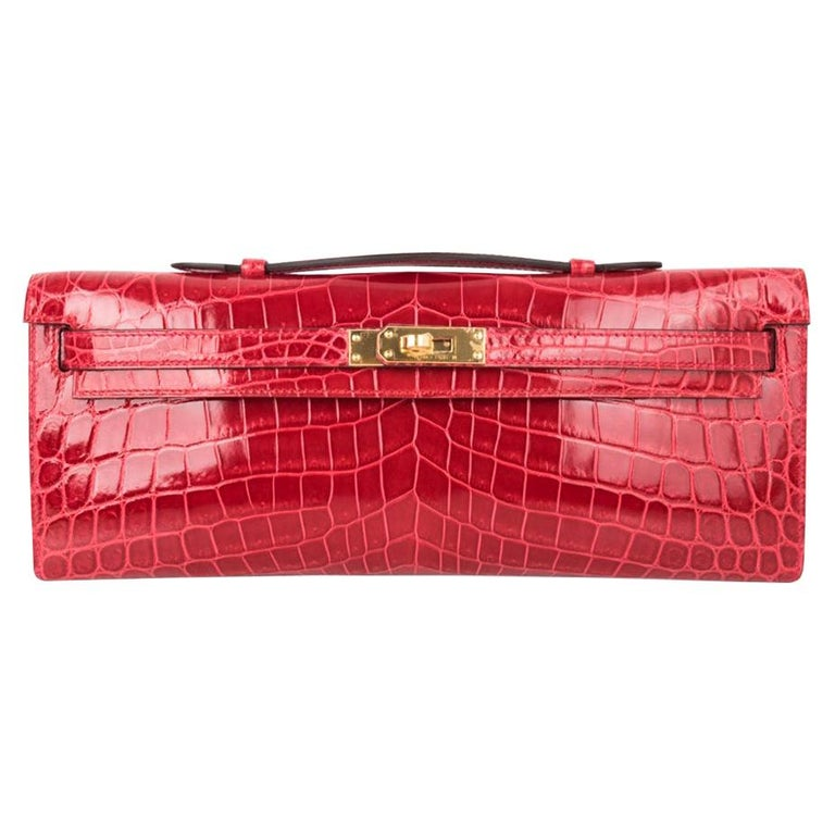 Hermes Kelly Cut Bag Braise Crocodile Gold Hardware Exquisite Lipstick Red For Sale