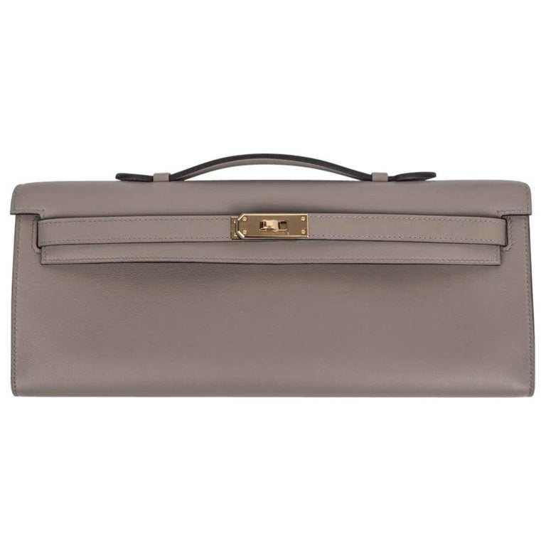 Hermes Kelly Cut Bag Gris Asphalte Gray Clutch Gold Hardware Swift Leather For Sale
