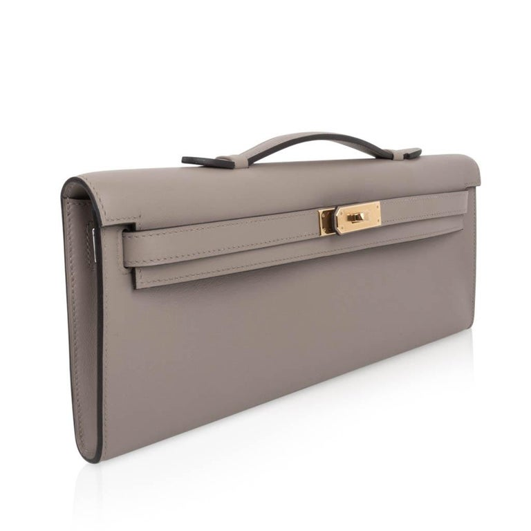 Hermes Kelly Cut Bag Gris Asphalte Gray Clutch Gold Hardware Swift Leather In New Condition For Sale In Miami, FL