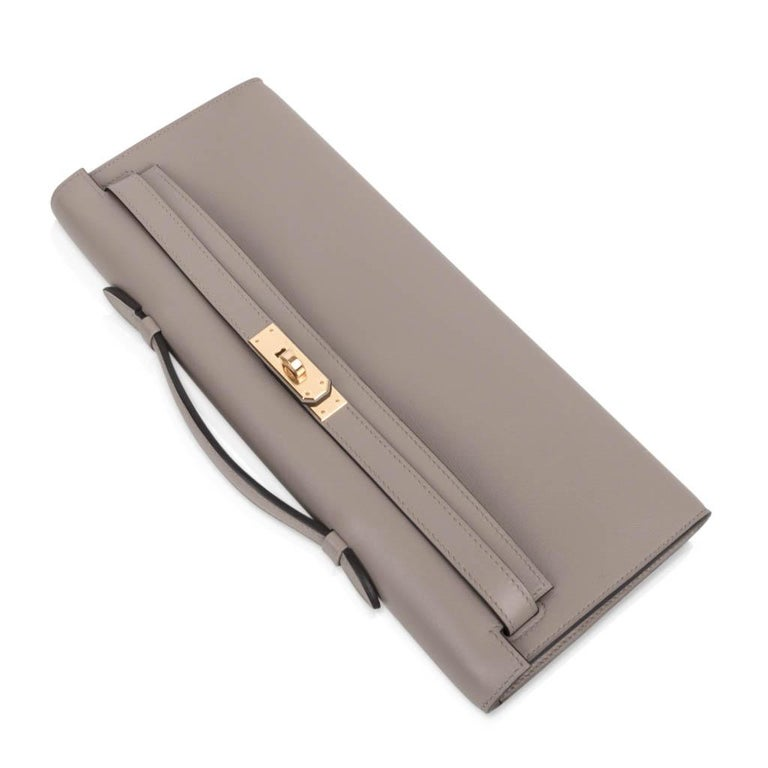 Women's Hermes Kelly Cut Bag Gris Asphalte Gray Clutch Gold Hardware Swift Leather For Sale