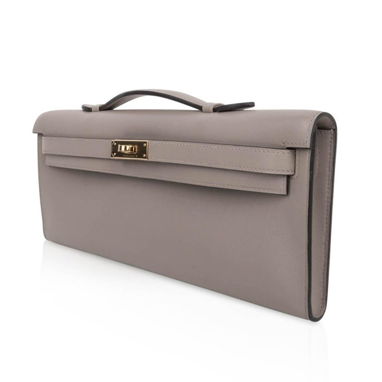 Hermes Kelly Cut Bag Gris Asphalte Gray Clutch Gold Hardware Swift Leather For Sale 1