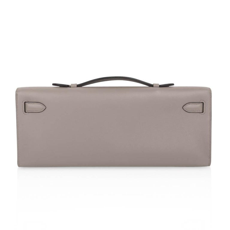Hermes Kelly Cut Bag Gris Asphalte Gray Clutch Gold Hardware Swift Leather For Sale 2