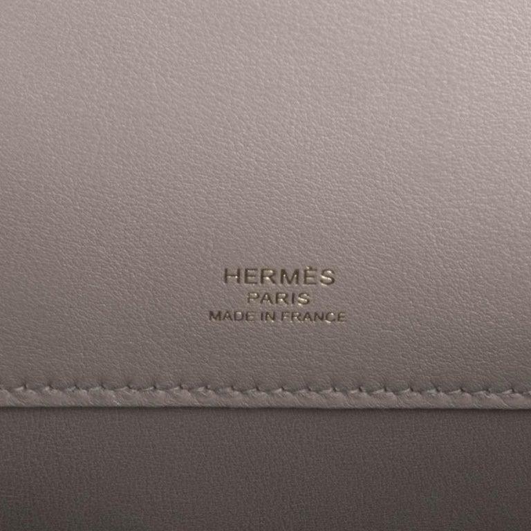 Hermes Kelly Cut Bag Gris Asphalte Gray Clutch Gold Hardware Swift Leather For Sale 3