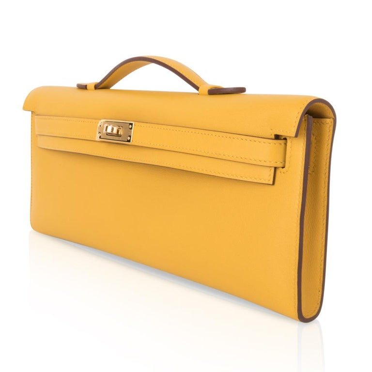 Hermes Kelly Cut Bag Jaune Ambre Clutch Swift Gold Hardware New For Sale 1
