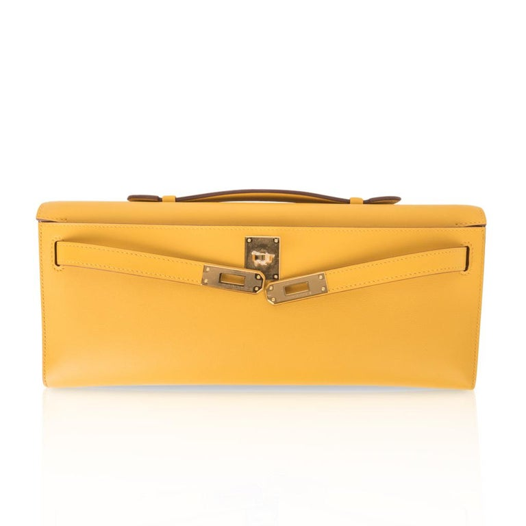 Hermes Kelly Cut Bag Jaune Ambre Clutch Swift Gold Hardware New For Sale 2