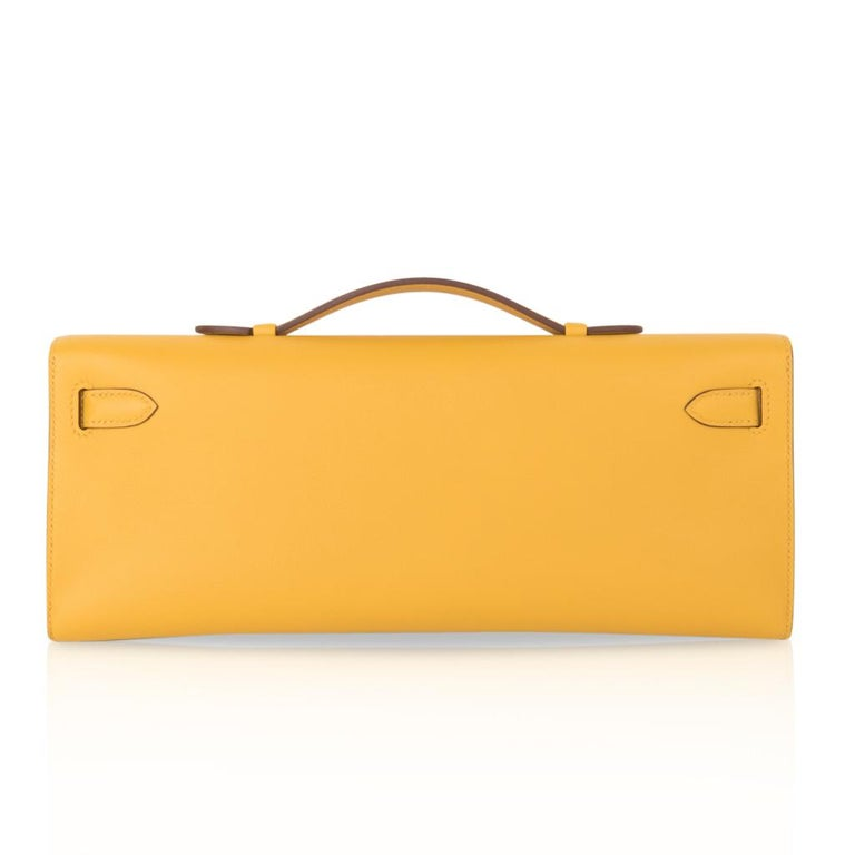 Hermes Kelly Cut Bag Jaune Ambre Clutch Swift Gold Hardware New For Sale 4