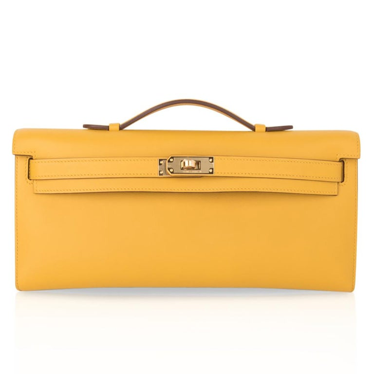Hermes Kelly Cut Bag Jaune Ambre Clutch Swift Gold Hardware New For Sale 3