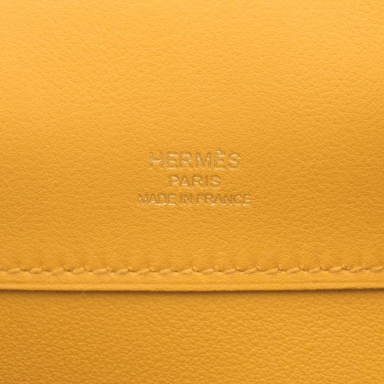 Hermes Kelly Cut Bag Jaune Ambre Clutch Swift Gold Hardware New For Sale 6