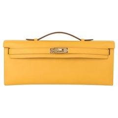 Hermes Kelly Cut Bag Jaune Ambre Clutch Swift Gold Hardware New