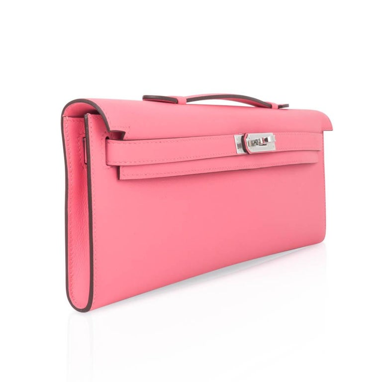 Hermes Kelly Cut Bag Pink Rose Azalee Clutch Swift Palladium Hardware New In New Condition For Sale In Miami, FL