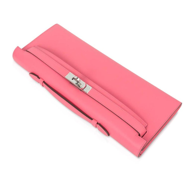 Women's Hermes Kelly Cut Bag Pink Rose Azalee Clutch Swift Palladium Hardware New For Sale
