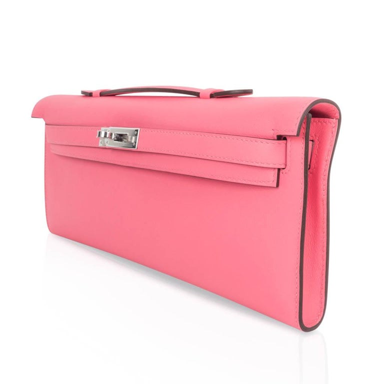 Hermes Kelly Cut Bag Pink Rose Azalee Clutch Swift Palladium Hardware New For Sale 1