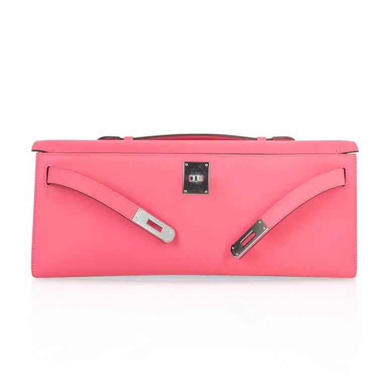 Hermes Kelly Cut Bag Pink Rose Azalee Clutch Swift Palladium Hardware New For Sale 2