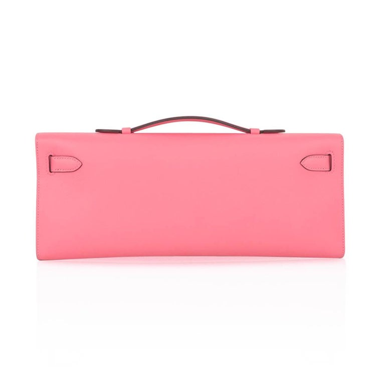 Hermes Kelly Cut Bag Pink Rose Azalee Clutch Swift Palladium Hardware New For Sale 3