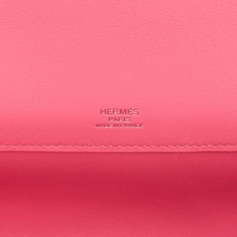 Hermes Kelly Cut Bag Pink Rose Azalee Clutch Swift Palladium Hardware New For Sale 4