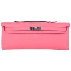Hermes Kelly Cut Bag Pink Rose Azalee Clutch Swift Palladium Hardware New