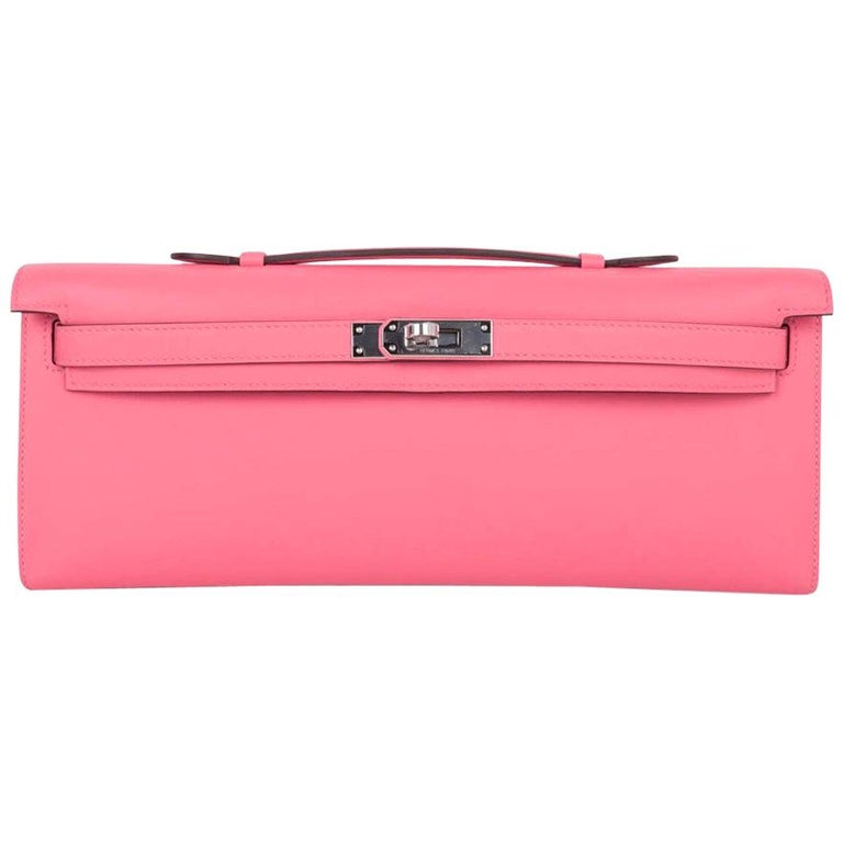 Hermes Kelly Cut Bag Pink Rose Azalee Clutch Swift Palladium Hardware New For Sale