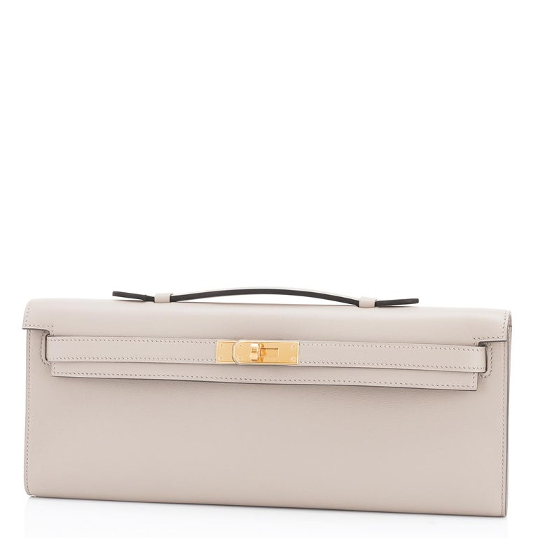 Hermes Kelly Cut Beton Cream Grey Clutch Swift Gold Hardware Y Stamp, 2020 In New Condition For Sale In New York, NY