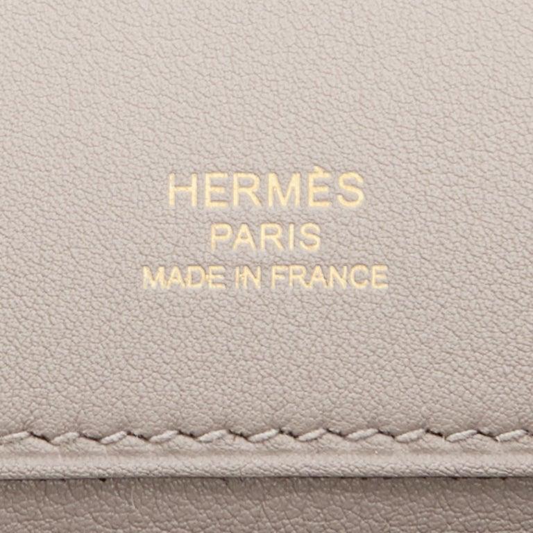 Hermes Kelly Cut Beton Cream Grey Clutch Swift Gold Hardware Y Stamp, 2020 For Sale 3