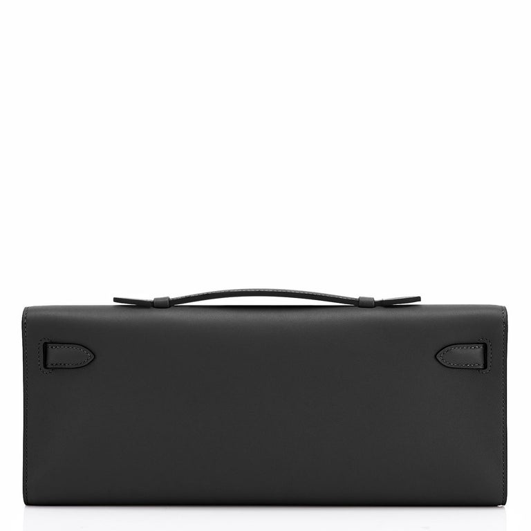 Hermes Kelly Cut Black Clutch Pochette Swift Gold Hardware D Stamp, 2019 In New Condition For Sale In New York, NY