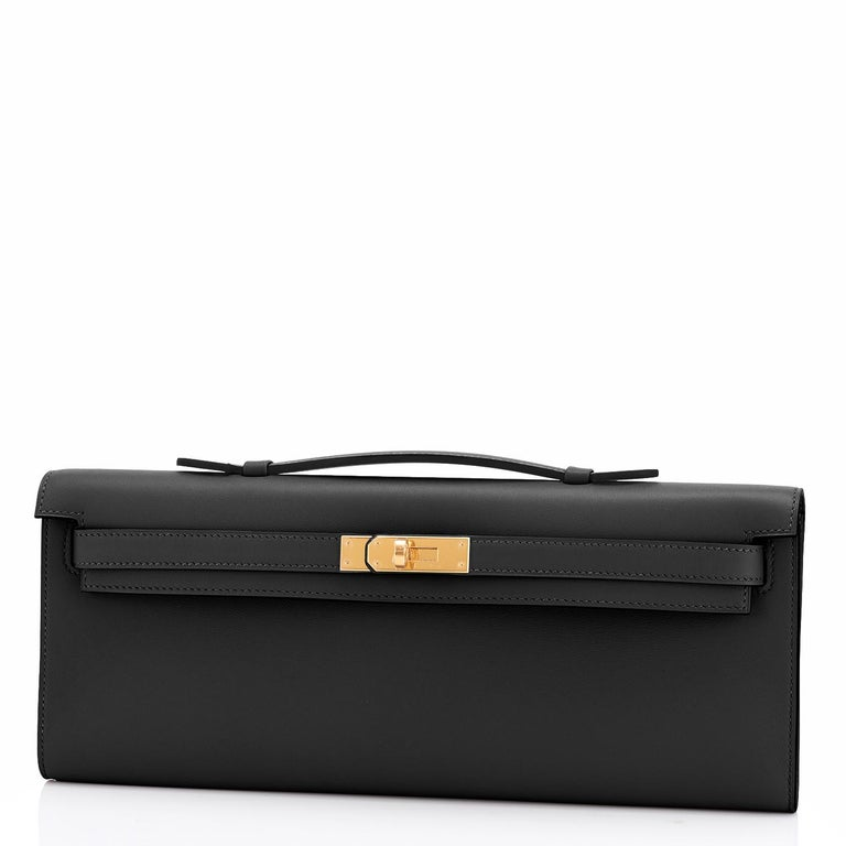 Women's or Men's Hermes Kelly Cut Black Clutch Pochette Swift Gold Hardware D Stamp, 2019 For Sale