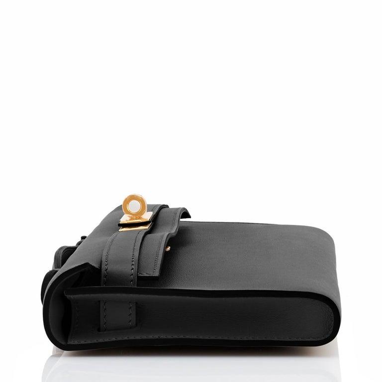 Hermes Kelly Cut Black Clutch Pochette Swift Gold Hardware D Stamp, 2019 For Sale 1