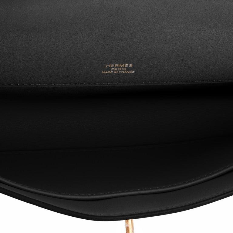 Hermes Kelly Cut Black Clutch Pochette Swift Gold Hardware D Stamp, 2019 For Sale 3