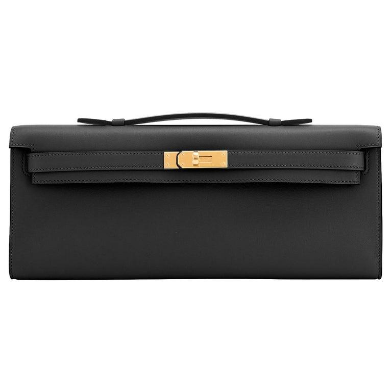 Hermes Kelly Cut Black Clutch Pochette Swift Gold Hardware D Stamp, 2019 For Sale