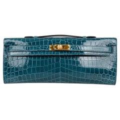 Hermes Kelly Cut Bleu Colvert Crocodile Gold Hardware Clutch Bag