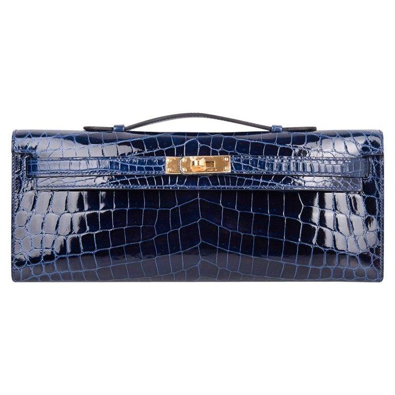 Hermes Kelly Cut Clutch Bag Blue Sapphire Crocodile Gold Hardware For Sale