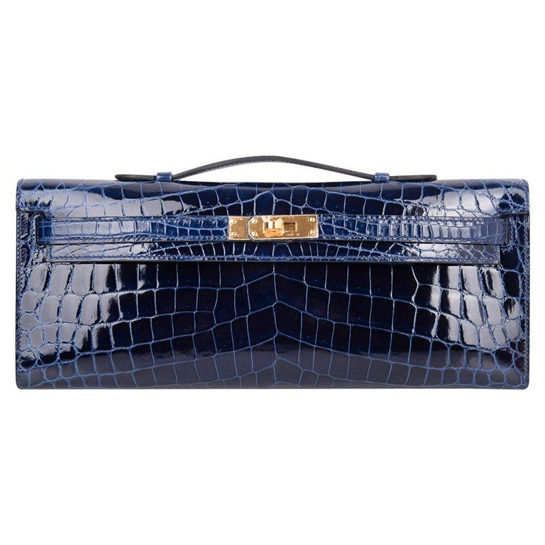 Hermes Kelly Cut Clutch Bag Blue Sapphire Crocodile Gold Hardware New w/Box For Sale