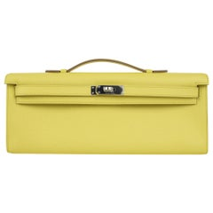 Hermes Kelly Cut Clutch Bag Fresh Souffre Yellow Epsom Palladium Rare