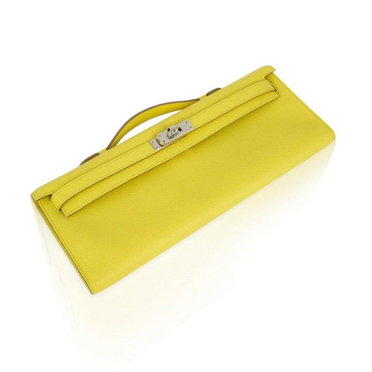 Hermes Kelly Cut Clutch Bag Fresh Souffre Yellow Epsom Palladium Rare New w/Box In New Condition For Sale In Miami, FL
