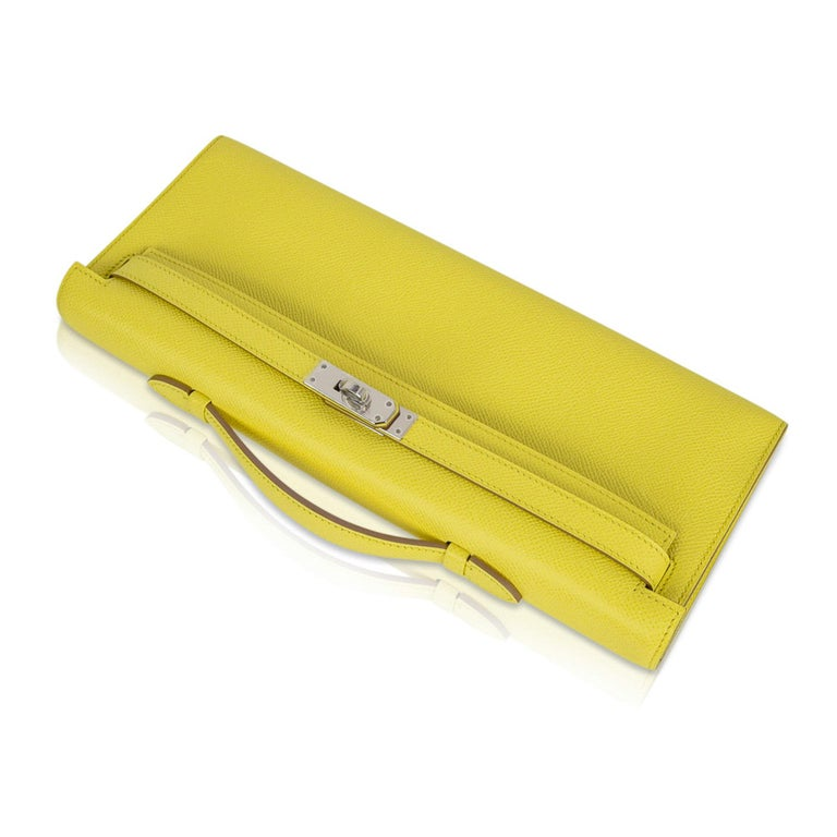 Women's Hermes Kelly Cut Clutch Bag Fresh Souffre Yellow Epsom Palladium Rare New w/Box For Sale