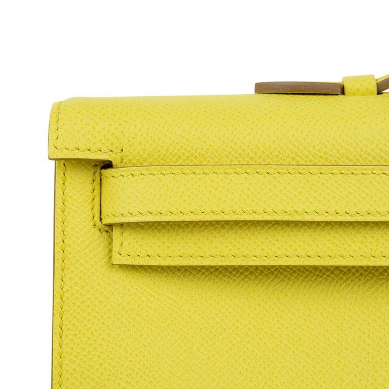 Hermes Kelly Cut Clutch Bag Fresh Souffre Yellow Epsom Palladium Rare New w/Box For Sale 1
