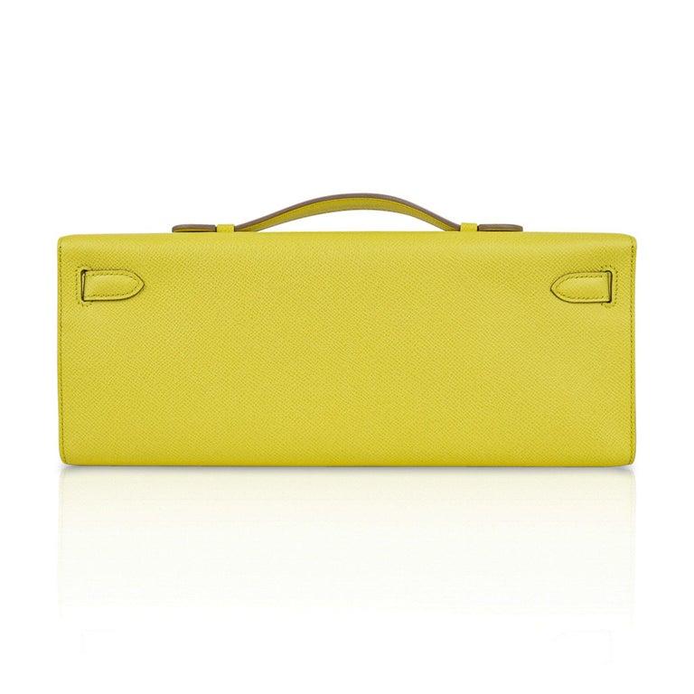 Hermes Kelly Cut Clutch Bag Fresh Souffre Yellow Epsom Palladium Rare New w/Box For Sale 2