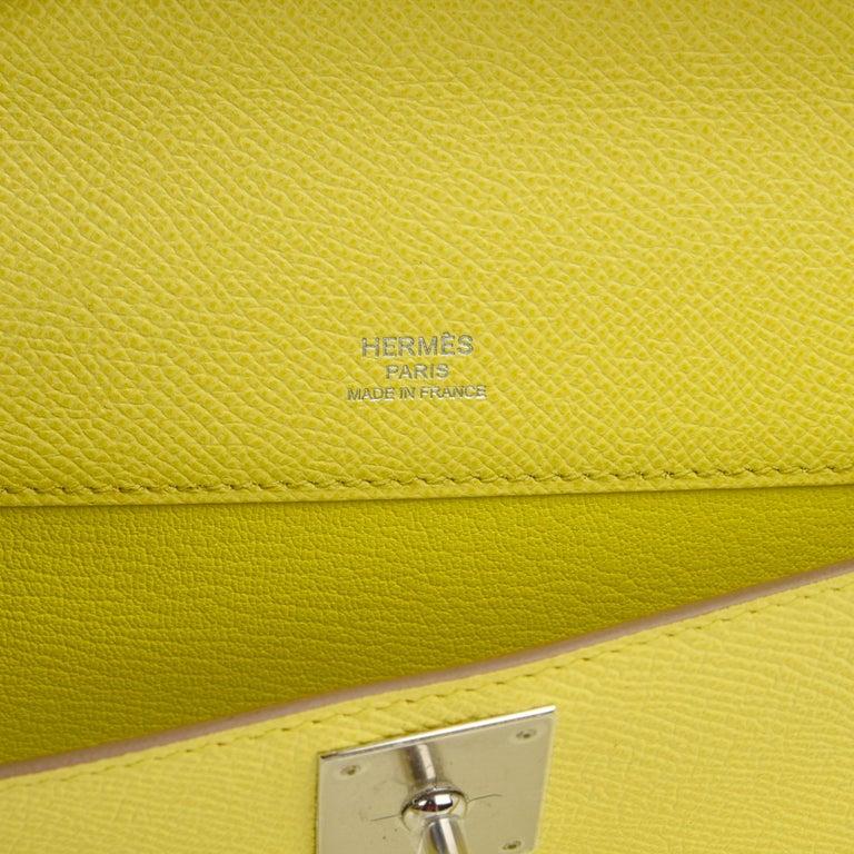Hermes Kelly Cut Clutch Bag Fresh Souffre Yellow Epsom Palladium Rare New w/Box For Sale 3