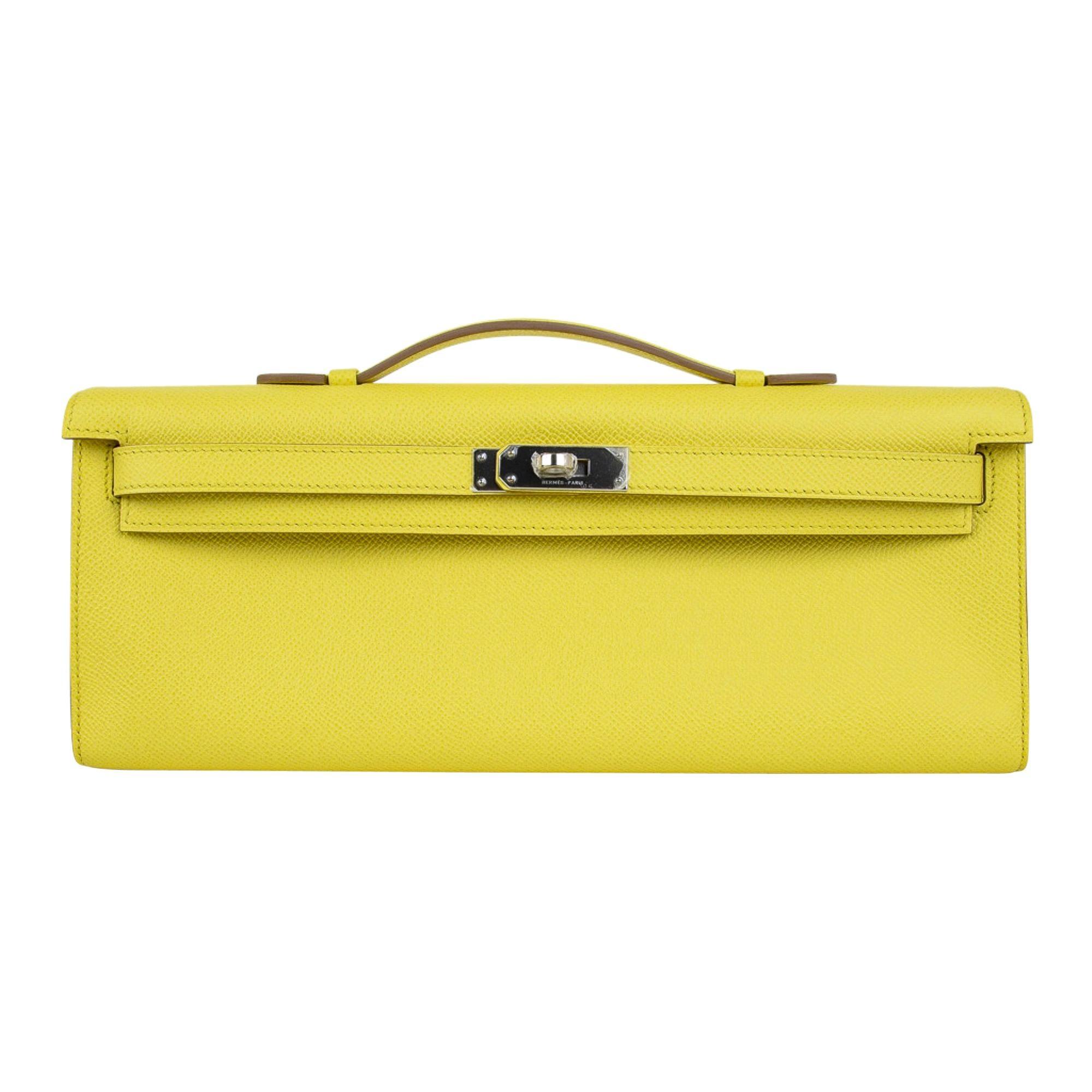 Hermes Kelly Cut Clutch Bag Fresh Souffre Yellow Epsom Palladium Rare New w/Box