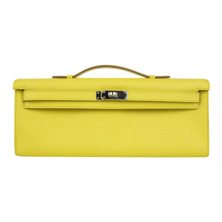 Hermes Kelly Cut Clutch Bag Fresh Souffre Yellow Epsom Palladium Rare New w/Box For Sale
