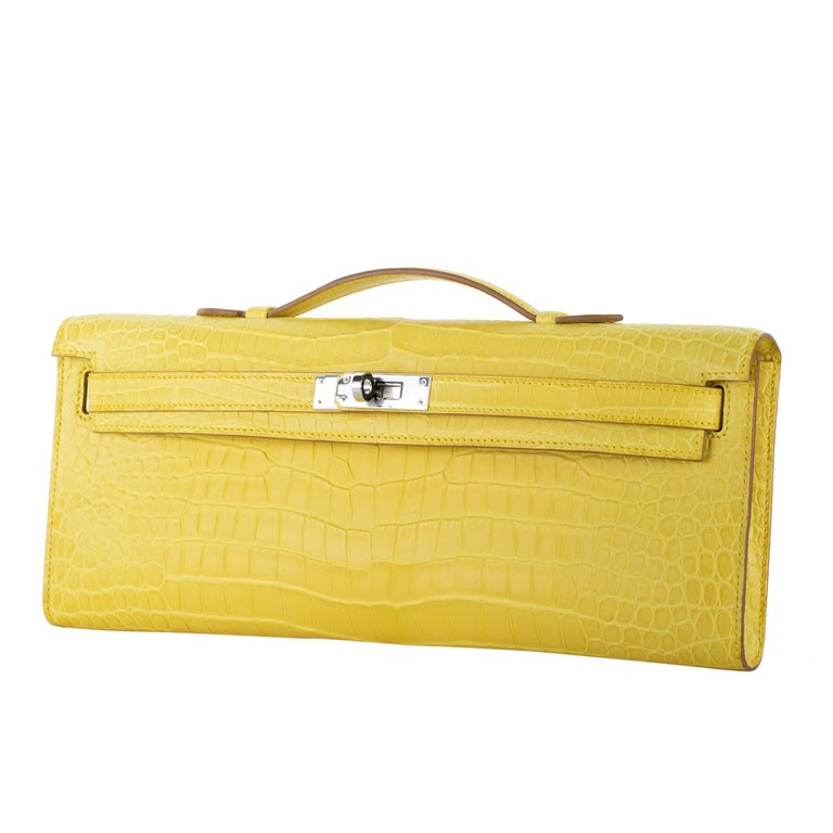 Hermès Kelly Cut Clutch Mimosa Matte Porosus Crocodile Palladium Hardware In New Condition For Sale In Sydney, New South Wales