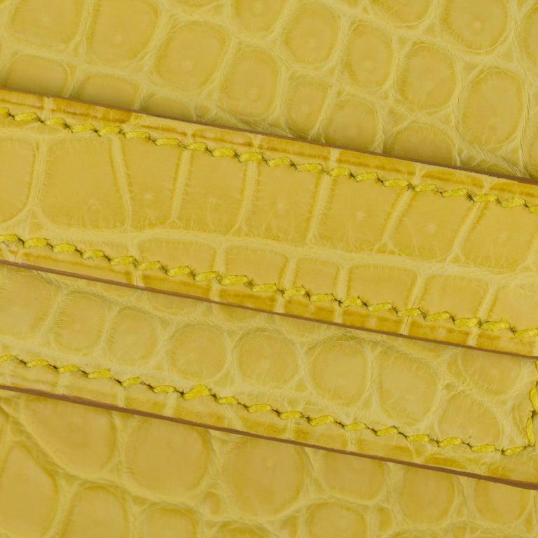 Hermès Kelly Cut Clutch Mimosa Matte Porosus Crocodile Palladium Hardware For Sale 1