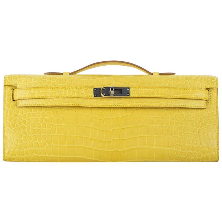 Hermès Kelly Cut Clutch Mimosa Matte Porosus Crocodile Palladium Hardware For Sale