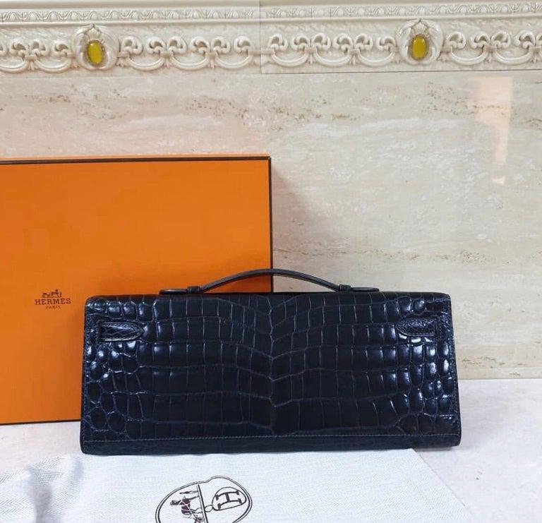 Black Hermès Kelly Cut Crocodile Blue Marine Bag For Sale