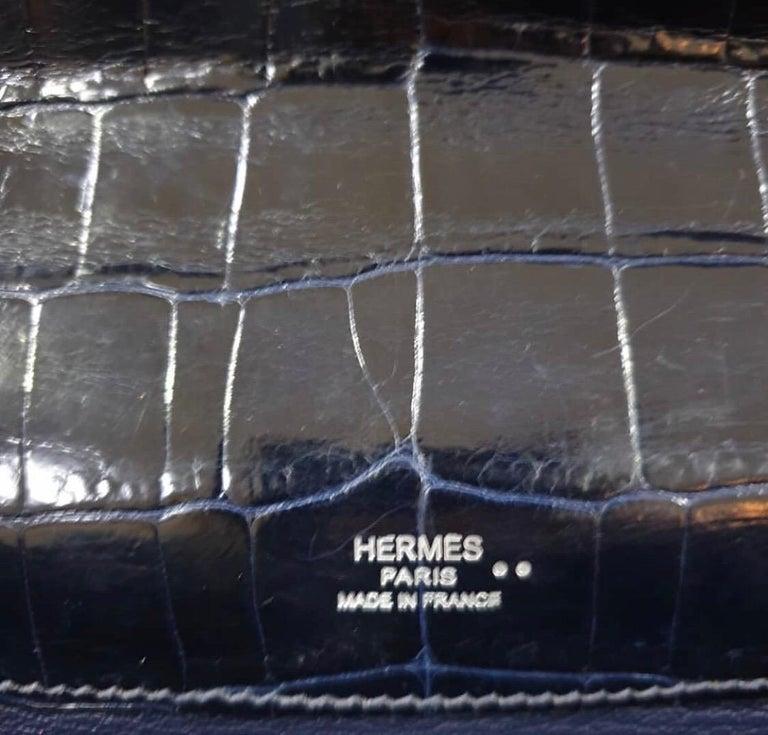 Hermès Kelly Cut Crocodile Blue Marine Bag For Sale 2