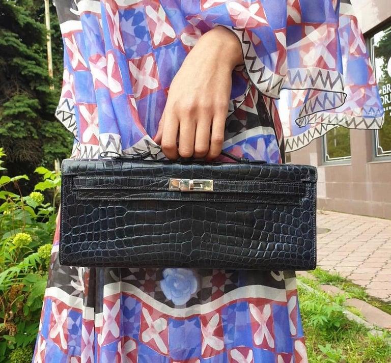 Hermès Kelly Cut Crocodile Blue Marine Bag For Sale 4