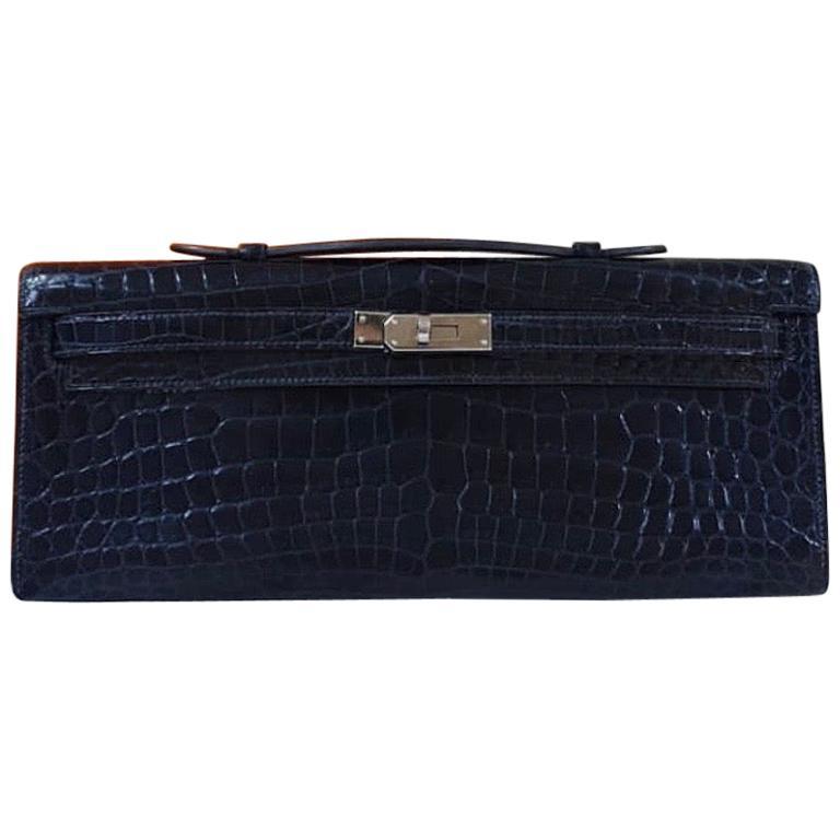 Hermès Kelly Cut Crocodile Blue Marine Bag For Sale